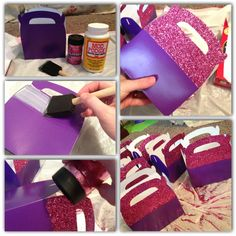 DIY Doc McStuffins party favor boxes. Boxes are from perinatal trading, mod podge, and glitter.