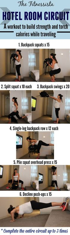 Hotel room circuit! Do this workout anywhere, at any time, using only your bodyweight and a backpack for resistance.