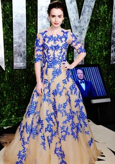 lily collins in the most gorgeous dress ever by monique lhuillier.