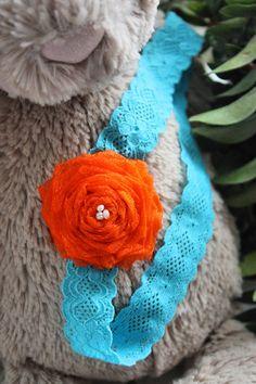 0 to 3m Newborn Orange Teal Flower Lace Headband, Baby Shower Gift Newborn Girl Flower Headband, Pearl Baby Headband #baby #children #kids #kidsfashion #babygirl #headband #flowerheadband #babamoon #etsy #photoprop #orange #blue