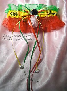 rasta garter @knottyness lol it'd be cool in turquoise,purple, and blue too! Whateves, you lame lol