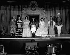 Princesses Margaret (1930 - 2002) and Elizabeth with Principles in 'Old Mother Red Riding Boots', a pantomime that is playing at Windsor Castle.