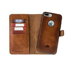 Burkley Magnetic Detachable Wallet Case For Apple iPhone 7 Plus in Burnished Tan Leather