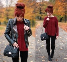 leather jacket and burgundy sweater