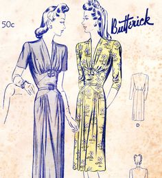 Vintage 1940s dress sewing pattern - Butterick 2471 - bust 32 di glassoffashion su Etsy https://www.etsy.com/it/listing/181970134/vintage-1940s-dress-sewing-pattern