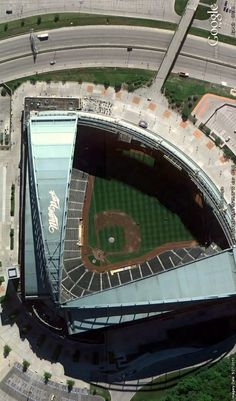Miller Park in Milwaukee, Wisconsin. Home of the Milwaukee Brewers and America's only fan shaped convertible roof stadium. Image from Google Earth.