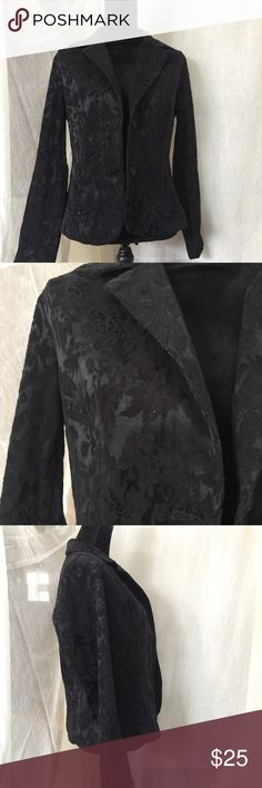"""Access (Liz Claiborne) Black floral brocade Jacket Color: Black Style: Blazer Jacket Material: 65% cotton 35% polyester Size: 10 Shoulder width: 14"""" Length: 22"""" Sleeve: 24"""" Bust: 19"""" Care: Machine wash cold with like colors or separately. Only non-chlorine bleach when needed. Line dry. Cold iron if necessary.  Extra Details: Wide notch lapel. Floral brocade fabric.   Item has a medium-heavy weight and is pretty warm.  Really cute Axcess Jackets & Coats"""