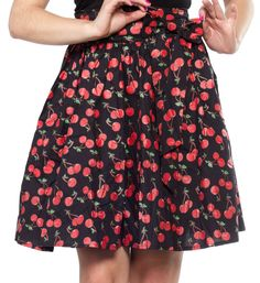 SOURPUSS+CHERRY+COBBLER+SWING+SKIRT+-+Every+gal+loves+a+swing+skirt!+Now+you+can+have+your+cobbler+and+eat+it+too+(hardy+har+har)+with+this+adorable+Cherry+Cobbler+version+of+our+classic+swing+skirt+style.+Made+from+a+slightly+stretchy+cotton+poplin,+this+skirt+sits+at+the+natural+high+waist+and+comes+with+a+detachable+bow+for+easy+washing+and+care.