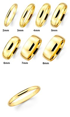 Sets without Stones 177019: 14K Solid Real Authentic Yellow Gold Classic Plain Wedding Band Ring Men Women -> BUY IT NOW ONLY: $157.2 on eBay!