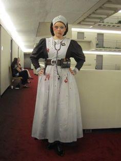 Victorian Asylum Nurse...love this....perhaps skip the clown thing this year and do this.