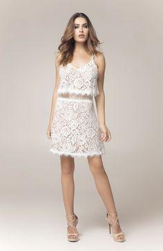 Vestido Cropped Renda Branco