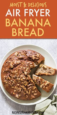 This air fryer banana bread is moist, flavorful, satisfying, and overall amazing! If you haven't used the air fryer to bake yet, you are seriously missing out! Air fried banana bread is so easy to make with a handful of pantry staples and your too ripe bananas. Crispy on the outside & topped with with nuts you'll make every weekend. Click through to learn how to make Air Fryer Banana Bread recipe!! #airfryer #airfryerrecipes #airfryerbananabread #bananabread #bananarecipes #bananacake
