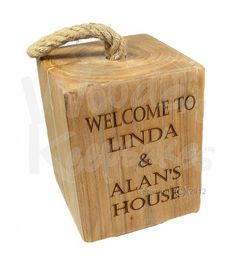 Personalized wooden reclaimed elm rustic doorstop with rope handle ideal  40th 50th 60th birthday or wedding gift