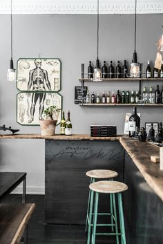 GRAY color scheme with natural wood accent and dark stained floors -industrial