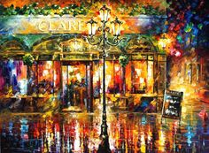 "Misty Cafe — PALETTE KNIFE Oil Painting On Canvas By Leonid Afremov - Size: 40"" x 30"" (100cm x 75cm)"