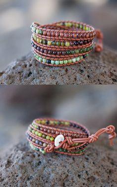 Green Brown & Tan Wrap Bracelet