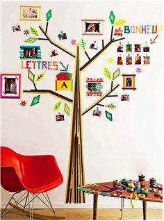 DIY: Dibujar árboles en la pared con washi tape (cinta adhesiva decorativa) : Baby-Deco