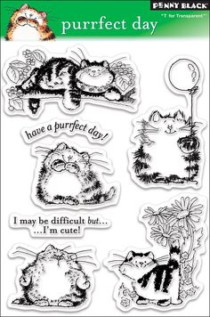 Amazon.com: Penny Black Clear Stamp Set, Purrfect Day: Arts, Crafts & Sewing