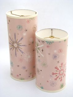 Pendant Drum Shades in 1950's Pink Atomic Starburst Vintage Wallpaper on Etsy, $100.00. These are so awesome!