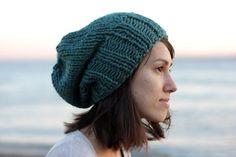 blue knit fall hat