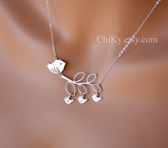 Family bird necklace initial necklace mama bird and baby by chiky, $41.00