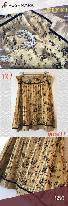 Just In✨Anthropologie Viola Silk Skirt✨ Beautiful Viola Silk Skirt in Gold colors with black floral print & Velvet details. Zipper on the side. Lovely classic ruffle in the hem. Simply a stunning piece. Anthropologie Skirts A-Line or Full