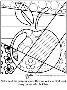 APPLE Pop Art Interactive Coloring Sheet - Basteln in der Grundschule Apple Coloring Pages, Colouring Pages, Coloring Sheets, Coloring Books, Free Coloring, Adult Coloring, Mandala Coloring, Classe D'art, Apple Pop