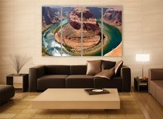 Horseshoe Bend Canvas Print 4 Panels Print Wall Decor Wall Art River Arizona Landscape Photography Print for Home and Office Wall Decoration by ZellartCo TAGS america photography usa arizona colorado colorado river horseshoe bend river photography landscape arizona landscape colorado landscape canvas print wall art