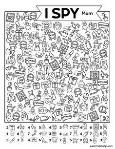 Free Printable I Spy Mother's Day Activity - Paper Trail Design Spy Mom, I Spy, Education Humor, Kids Education, Education English, Activity Sheets For Kids, Mother's Day Activities, Hidden Pictures, Kids Class