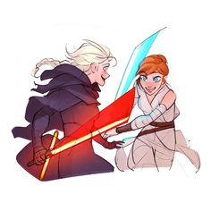 makingtodayaperfectday:  charlestan:  Who doesn't enjoy a good lightsaber fight?  This is perfect.   @comickergirl @birger-wuvs-elsa @insectoid5 @blunaowl @forkanna @thearendork LOOK