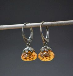 Citrine Earrings, Citrine Jewelry, Birthstone Earrings, November Birthstone, Silver Earrings, Faceted Citrine, Citrine Dangle, Earrings
