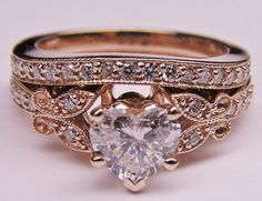Heart Shape Diamond Butterfly Vintage Engagement Ring setting  Matching Wedding Band 0.37 tcw. In Rose Gold,