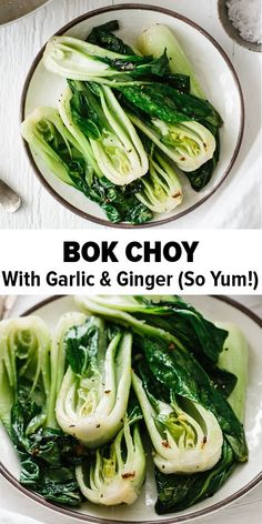 Bok choy cooked with garlic and ginger in a quick stir-fry recipe. It's nutritio… Bok choy cooked with garlic and ginger in a quick stir-fry recipe. It's nutritious, tasty and packed with health benefits. Use baby bok choy or regular sized bok choy. Healthy Side Dishes, Vegetable Side Dishes, Side Dish Recipes, Asian Recipes, Asian Side Dishes, Recipes Dinner, Veggie Recipes Sides, Cooked Vegetable Recipes, Bean Sprout Recipes