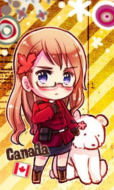 Axis Powers Hetalia-Another Color! (Commonly referred to as 2P designs) 2P! Nyotalia Canada as of 2011.