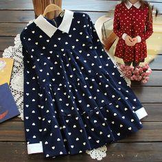 L-3XL Navy/Wine Plus Size Little Hearts Dress SP153726