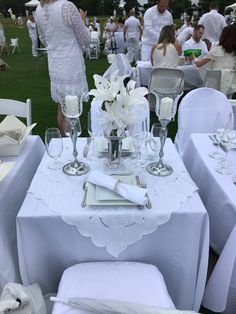Our table decor for Diner en Blanc Wish we had added some battery operated lights as the battery votives did not give very much light. Will change that for next year. Dinner Party Table, All White Party, Anniversary Dinner, Dinner Themes, Le Diner, Elegant Dining, Wedding Table Settings, Battery Operated, Party Planning