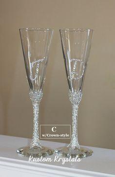 Swarovski Crystal embellished toasting flutes, toasting glasses, champagne flutes. custom. STEM  W/ INITIALS by KustomKrystals on Etsy https://www.etsy.com/listing/181440096/swarovski-crystal-embellished-toasting