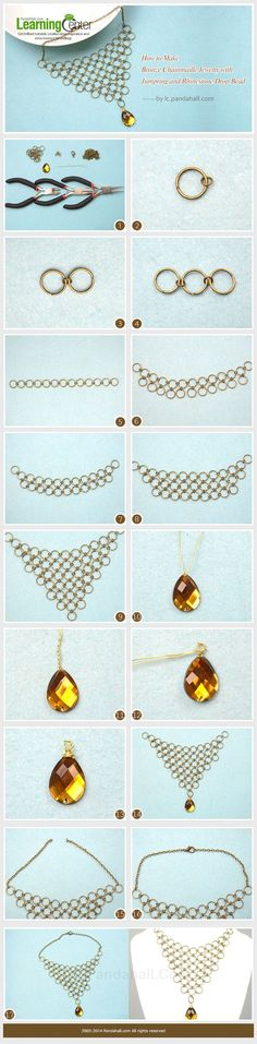 cool DIY Bijoux - How to Make Bronze Chainmaille Jewelry with Jumpring and Rhinestone Drop Bead  #...