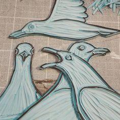 The flock of gulls is growing :). . . . ...#linocut #printmaking #blockprinting #reliefprinting #lino #herringgull #seabird #cornwallart #cornwallwildlife  #wildlifeart #birdart #birdartist #wildbird #artiststudio  #inthestudio #art  #illustration #collage  #mixedmedia #wildlife#naturalworld  #animaartist  #mixedmedia #contemporaryprintmaking  #wildlifeartist  #humananimalrelationship