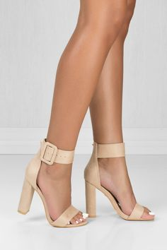 """These sexy heels are certainly your """"go to"""" pair! """"STELLA"""" features an open toe, chunky heel, ankle strap with an adjustable buckle and a lightly padded insole for comfort. Fits true to size for most!"""