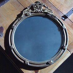 Antique Victorian Ornate Floral Gold Gilt Wood Gesso Large Round Mirror | eBay