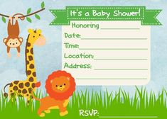 Safari Baby Shower Invitations Free Template | New Invitations ...