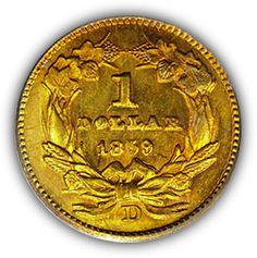 1859 Dahlonega $1 Gold Coin Reverse