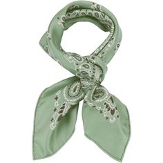 Bandana Print Sage Silk Square Scarf ($59) ❤ liked on Polyvore featuring accessories, scarves, green, green silk scarves, silk scarves, silk shawl, pure silk scarves and green shawl