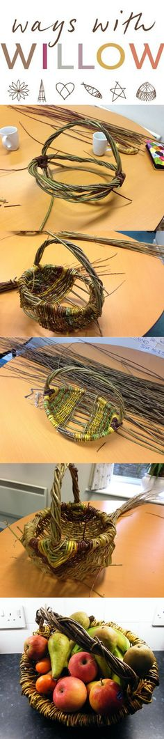 A wonderful fruit basket made by an individual on a Ways with Willow Basketry Course in Cornwall. Weaving Projects, Craft Projects, Projects To Try, Willow Weaving, Basket Weaving, Diy And Crafts, Arts And Crafts, Diy Y Manualidades, Nature Crafts