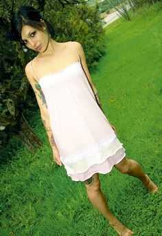 Gothic Doll  Organic Pink Lacey Slip DRESS sl  by alterecoclothing, $80.00