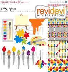 80% OFF SALE Painting Supplies Clip art 07509 by revidevi on Etsy