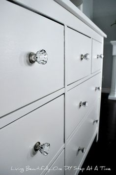 Dresser Hardware - i used inexpensive glass look a likes i found at target.