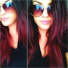 black and dark red curly ombre hair - Google Search