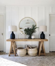 The Entry Table Ideas are small things we require to think about for space decor. The Entry Table Ideas are small things we require to think about for space decor especially for spe Entryway Console, Entryway Decor, Modern Entryway, Entryway Ideas, Modern Entry Table, Wall Decor, Hallway Ideas, Entrance Table Decor, Side Table Decor